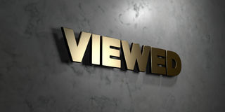 Viewed - Gold sign mounted on glossy marble wall  - 3D rendered royalty free stock illustration Royalty Free Stock Image