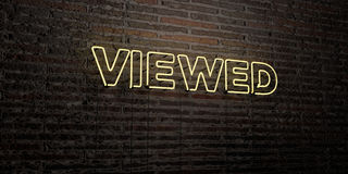 VIEWED -Realistic Neon Sign on Brick Wall background - 3D rendered royalty free stock image Royalty Free Stock Photo