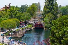Disneyland Columbia Ship Replica Aerial View. Viewed from Tree House, the replica of historical sailing ship, the Columbia, is docked waiting for next tour group Royalty Free Stock Image