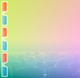 Viewers at 3D movie theater, RGB toning. Viewers watch motion picture at movie theatre, 3D glasses border Stock Photography