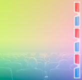Viewers in 3D movie theater, RGB toning. Viewers watch motion picture at movie theatre, 3D glasses border Royalty Free Stock Photography