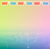 Viewers in 3D movie theater, RGB toning. Viewers watch motion picture at movie theatre, 3D glasses border Stock Photography