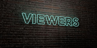VIEWERS -Realistic Neon Sign on Brick Wall background - 3D rendered royalty free stock image Stock Photos