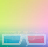 Viewers watch 3D movie theater, RGB toning. Viewers watch motion picture at movie theatre, 3D glasses border Royalty Free Stock Photos