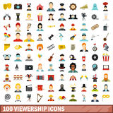 100 viewership icons set, flat style. 100 viewership icons set in flat style for any design vector illustration Royalty Free Stock Photos