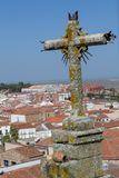 Viewes van St Francis Xavier kerk in Caceres (Spanje stock foto