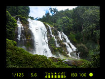 Viewfinder camera with information display. Wachirathan Waterfal Royalty Free Stock Photography