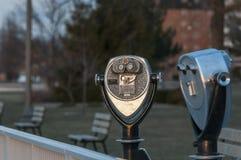 Viewing binocular. Along riverside of windsor ontario stock images