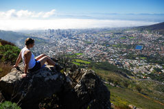 Viewing Cape Town. Relaxing while Looking over Cape Town Royalty Free Stock Photo
