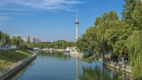 Viewing the Chinese central TV tower from Yuyuantan park. Beijing city , China Royalty Free Stock Photography