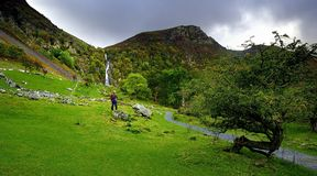 Viewing the Falls. Viewing Aber Falls, North Wales Royalty Free Stock Photography