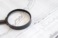 Viewing forex charts through a magnifying glass. Viewing forex charts through a magnifying glass stock images