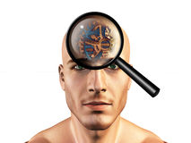Viewing gears in mans head Royalty Free Stock Images
