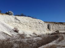 Viewing limestone quarry landscape in spring Stock Photography