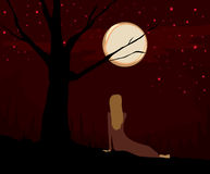 Viewing the Moon. Girl or woman sits under a tree at night, looking at the full moon and stars Vector Illustration