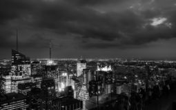 Sundown from the top of the rock - in black and white stock image