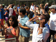 Viewing the Partial Solar Eclipse Royalty Free Stock Image