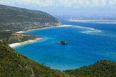 Viewing the peninsula of Troia Stock Images