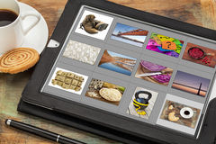 Viewing pictures on digital tablet Royalty Free Stock Photography
