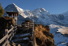 Viewing platform. Eiger and Mönch and Jungfraujoch near Grindelwald with a small viewing platform Stock Photos