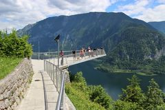 Viewing Platform in Hallstatt with a spectacular view of Lake Hallstatter See, Austria, Europe. Royalty Free Stock Photo