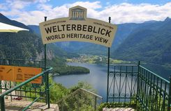 Viewing Platform in Hallstatt with a spectacular view of Lake Hallstatter See, Austria, Europe. Hallstatt, Austria - June 18, 2017: The World Heritage Viewing stock photography