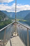 Viewing Platform in Hallstatt with a spectacular view of Lake Hallstatter See, Austria, Europe. Hallstatt, Austria - June 18, 2017: The World Heritage Viewing stock photos