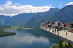 Viewing Platform in Hallstatt with a spectacular view of Lake Hallstatter See, Austria, Europe. Hallstatt, Austria - June 18, 2017: The World Heritage Viewing royalty free stock photography