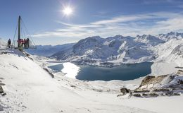 Viewing Platform Looking over Lac Du Mont Cenis in France Royalty Free Stock Image