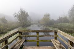 Viewing platform overlooking a river stock photography