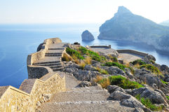 Viewing platform with a seaview on mallorca. High viewing platform with a seaview on mallorca on formentor cape Royalty Free Stock Photo