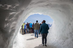 The viewing point at summit of  Aiguille du Midi Stock Photos