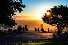 Viewing a Portland Oregon sunrise Stock Photo
