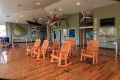 Viewing room of the Rookery Bay Environmental Learning center in Marco Island, Florida. Marco Island, Florida, USA – March 10, 2018: Viewing room of the stock photography