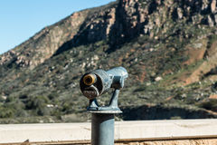 Viewing scope at Overlook Pointed Towards Mountain Stock Images