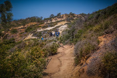 People viewing the scenic panorama at Torrey Pines, San Diego. Torrey Pines Natural Reserve, best trails for hikers stock photography