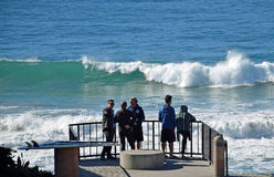 Viewing  surf at Brooks Street Beach in Laguna Beach, California. Royalty Free Stock Image