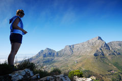 Viewing Table Mountain. Table Mountain from Lions Head Stock Photo