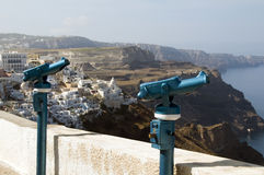 Viewing telescope binocular santorini greek island Royalty Free Stock Image