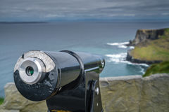 Viewing telescope on the Cliffs of Moher Stock Photos