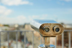 Viewing Telescope on Rooftop Stock Image
