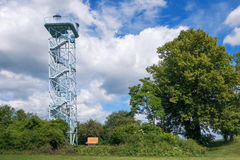Viewing tower in Duerrenmettstetten. Viewing tower with platform in open construction made of metal with visible stairway. Taken in Duerrenmettstetten, district Stock Photography