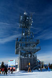Viewing  tower on top of mountain nearby Wagrain and Alpendorf. Stock Photo