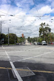 Viewn an auf Flinders-Straße in Melbourne, Australien, 18 januar Lizenzfreies Stockbild