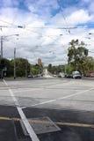 Viewn dessus sur la rue de Flinders à Melbourne, Australie, 18 janvier Image libre de droits
