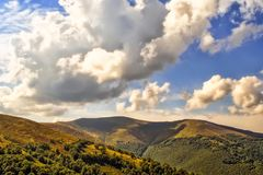 Viewn on the mountains and cumulus clouds. Carpathians Royalty Free Stock Images