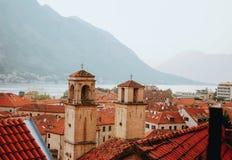 Viewof oude stad Kotor van de Lovchen-berg royalty-vrije stock foto