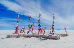 Flags of nations all over the world by Uyuni - Bolivia. Viewon flags of nations all over the world by Uyuni - Bolivia royalty free stock photo