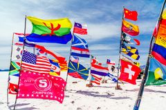 Flags of nations all over the world by Uyuni - Bolivia. Viewon flags of nations all over the world by Uyuni - Bolivia stock photo
