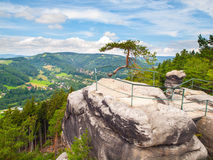 Viewpoint aboce Jizera valley in sandstone landscape of Bohemian Paradise, Besedice Rocks, Czech Republic Royalty Free Stock Photo